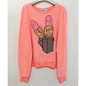 NWT Authentic Wildfox Lip Stick Sweatshirt